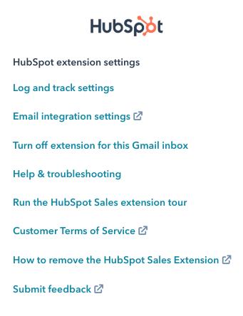 Hubspot Extension Settings