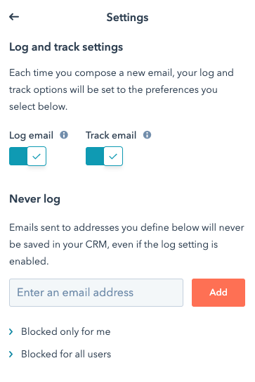 Hubspot Log and Tracking Settings